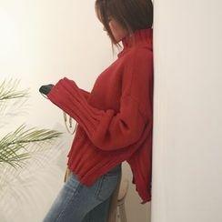 DABAGIRL - Mock-Neck Distressed Sweater