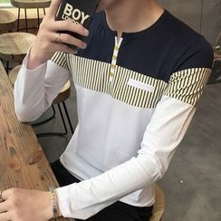 Besto - Stripe Panel Long-Sleeve Henley