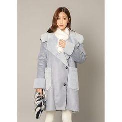 J-ANN - Fleeced-Line Faux-Suede Coat