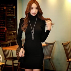 Dabuwawa - Long-Sleeve Turtleneck Sheath Wool Blend Dress