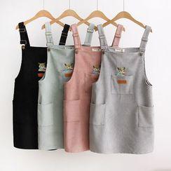 Suzette - 刺绣灯芯绒背带裙