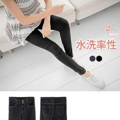 OrangeBear - Button-Front Washed Skinny Pants