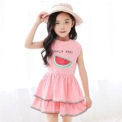 Smart Kids - Kids Printed Tiered Sleeveless Dress