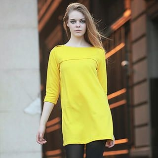 YiGelila - 3/4-Sleeve A-Line Dress