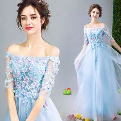 Angel Bridal - 露肩珠飾貼花晚禮服