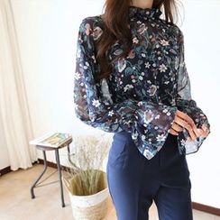 Hello sweety - Frill-Neck Floral Print Chiffon Top