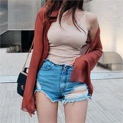LIPHOP - Distressed Denim Shorts