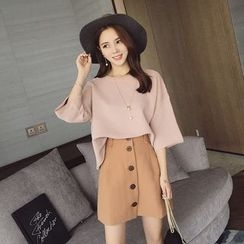 lilygirl - Set: Elbow-Sleeve Knit Top + A-Line Skirt
