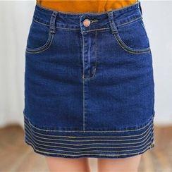 CaraMelody - Panel A-line Denim Skirt