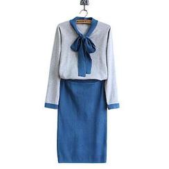 WeiWei Design - Set: Tie-Neck Knit Top + Skirt