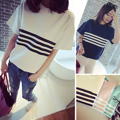ENZA - Striped Short-Sleeve T-Shirt