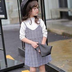 Candy Baby - Kids Set: Long-Sleeve Plain T-Shirt + Plaid Strappy Dress