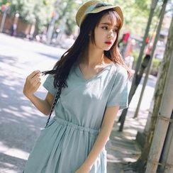 微米家 - 短袖裹式前抽绳腰连衣裙