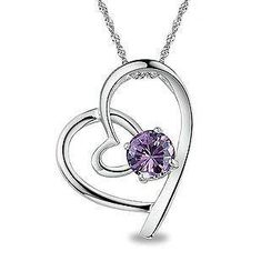 BELEC - White Gold Plated 925 Sterling Silver Heart-shaped Pendant with Purple Cubic Zirconia (with  45cm Necklace )