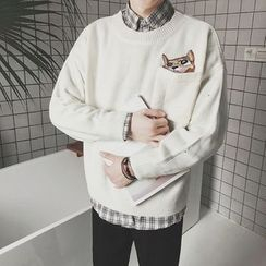JUN.LEE - Cat Embroidered Sweater