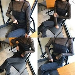 Eva Fashion - Glitter Long Sleeve Sheer Top