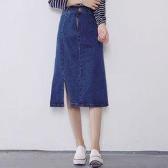 MePanda - Side Slit Midi Denim Skirt
