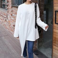 Seoul Fashion - Cutout-Hem Asymmetric Long Top
