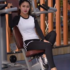 Quinos - Set: Long Sleeve Sports T-Shirt + Inset Sports Shorts Leggings