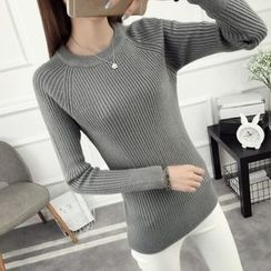 anzoveve - Long-Sleeve Ribbed Knit Top