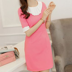 Q.C.T - Frilled Collar Short-Sleeve Dress