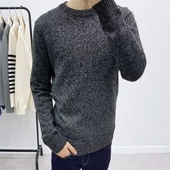 Seoul Homme - Round-Neck Mélange Sweater