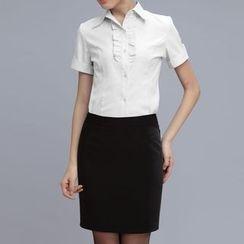 alamode - Set: Short-Sleeve Ruffle Shirt + Skirt