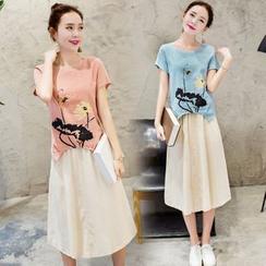 Coolvibe - Set: Printed Top + Midi Skirt