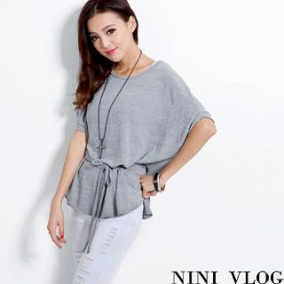 NiNi Vlog - Dolman-Sleeve Drawstring Knit Top