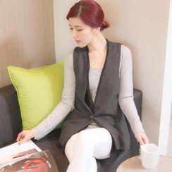 Tokyo Fashion - Detachable-Scarf Long Vest