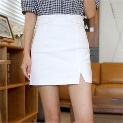 QNIGIRLS - Slit-Front Mini Skirt