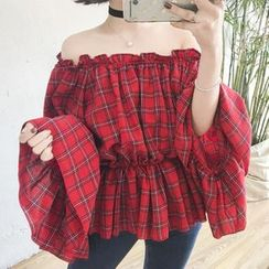 Moon City - Plaid Ruffle Off-shoulder Top