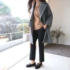 Hello sweety - Wide-Collar Wool Blend Coat