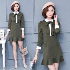EFO - 3/4-Sleeve Ruffle-Hem Dress
