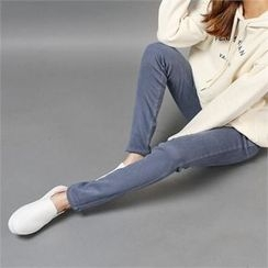 Styleberry - Band-Waist Brushed Fleece Lined Skinny Pants