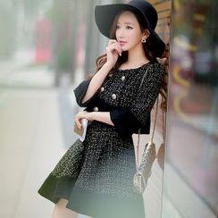 Dabuwawa - Wool Blend Paneled Tweed A-Line Skirt