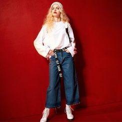 ELF SACK - Fray-Hem Wide-Leg Jeans