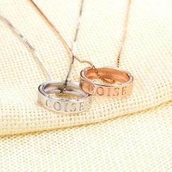 Zundiao - Sterling Silver Rhinestone Embossed Ring Pendant