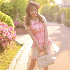 糖果雨 - 格子假兩件短袖連衣裙