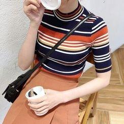 Mayflower - Striped Short-Sleeve Knit Top