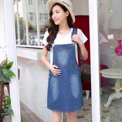 Ohayo - Maternity Striped Denim Jumper Skirt