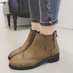 Crystella - Brogue Short Boots