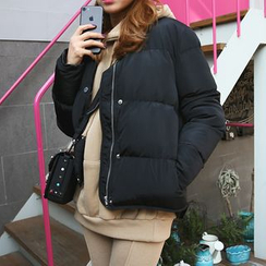DABAGIRL - Round-Neck Snap-Button Puffer Jacket