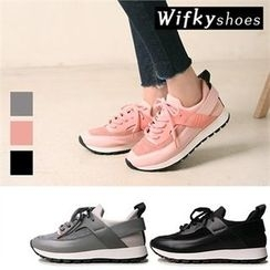 Wifky - Contrast-Trim Lace-Up Sneakers