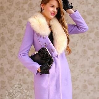 Dabuwawa - Faux-Fur-Collar Jeweled Coat