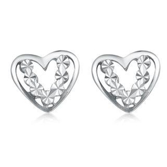 MaBelle - 14K/585 White Gold Open Heart with Diamond Cut Stud Earrings