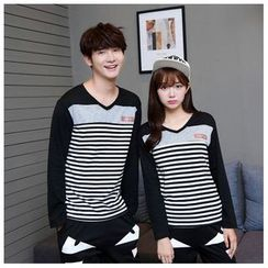 Azure - Matching Couple Striped Long-Sleeve T-Shirt / Monster Print Sweatpants