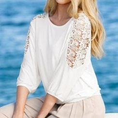 Twinkle Dream - Lace Panel Elbow-Sleeve Top