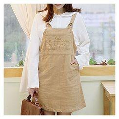 Sechuna - Pocket-Front Embroidered Suspender Dress