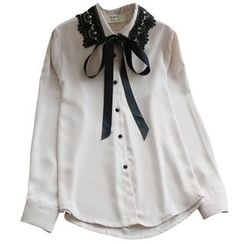 YOYO - Long-Sleeve Tied Lace Collar Shirt
